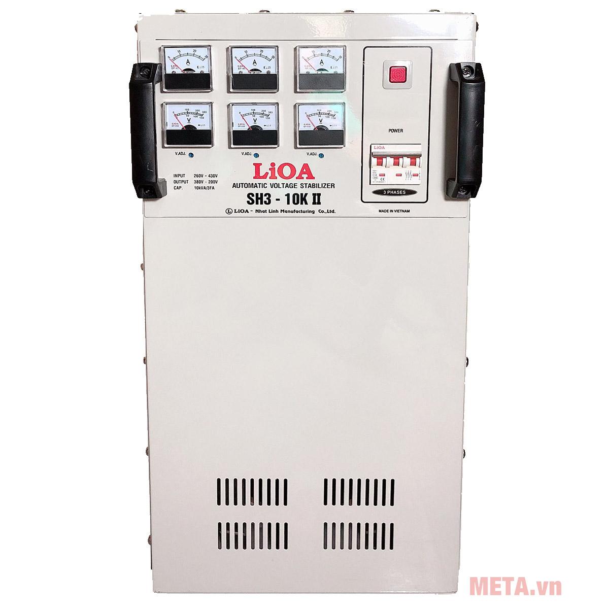 Ổn áp 3 pha Lioa 10 KVA SH3 10K có lớp vỏ màu nâu cách điện an toàn