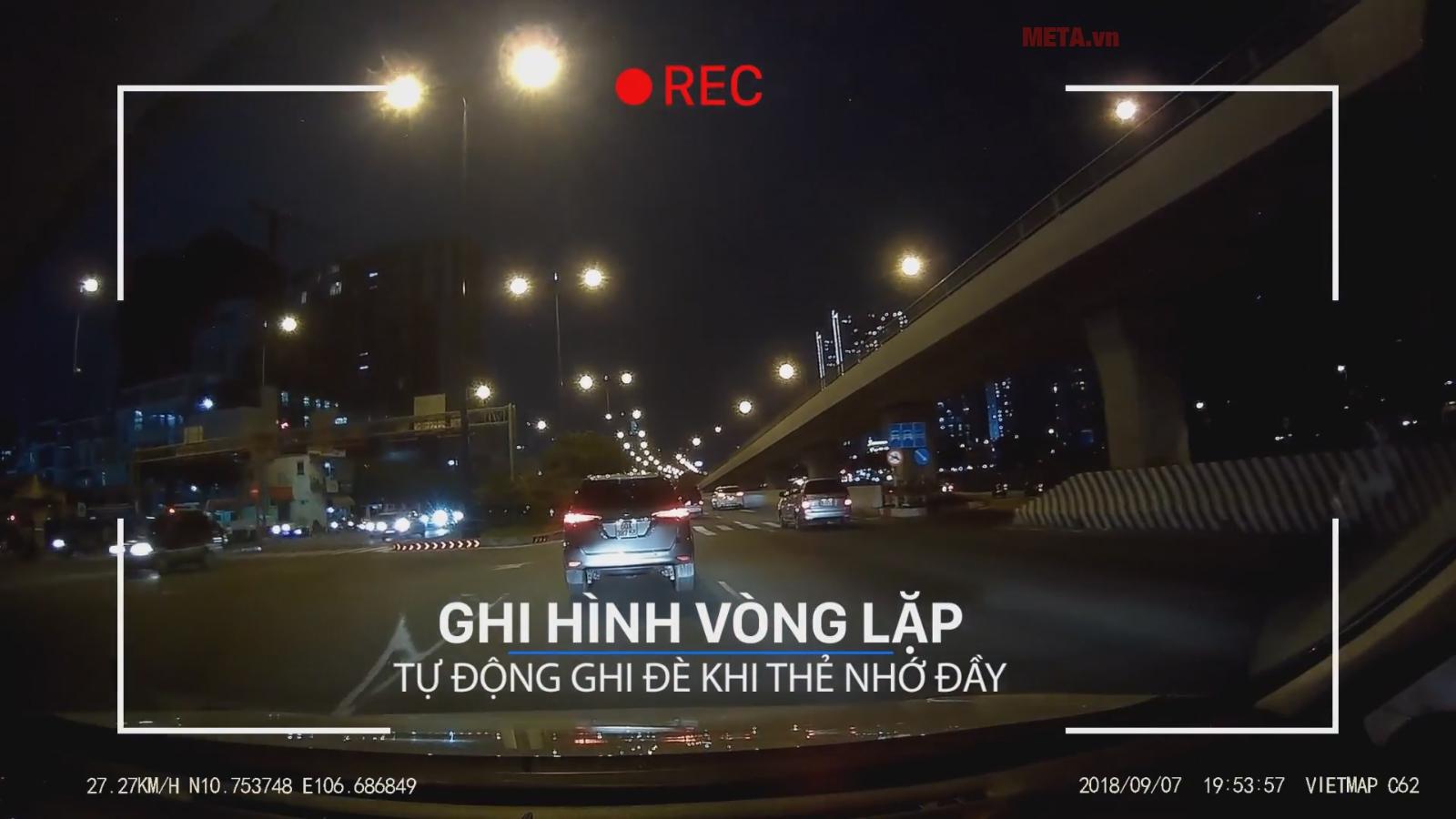 Camera Vietmap C62 ghi hình vòng lặp, ghi hình ban đêm rõ nét