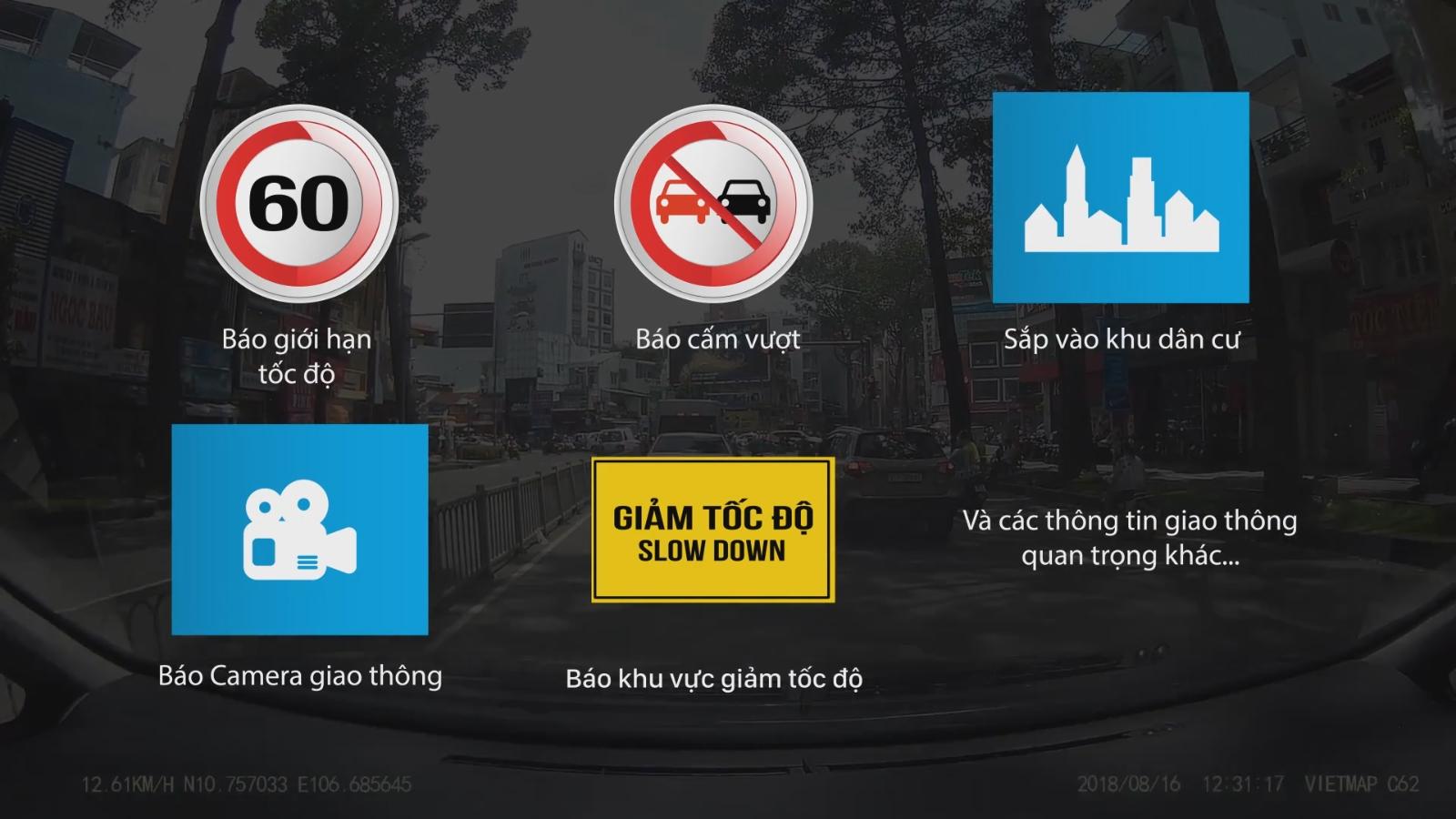 Camera Vietmap C62 cảnh báo bằng giọng nói, đọc và nhận diện biển báo giao thông