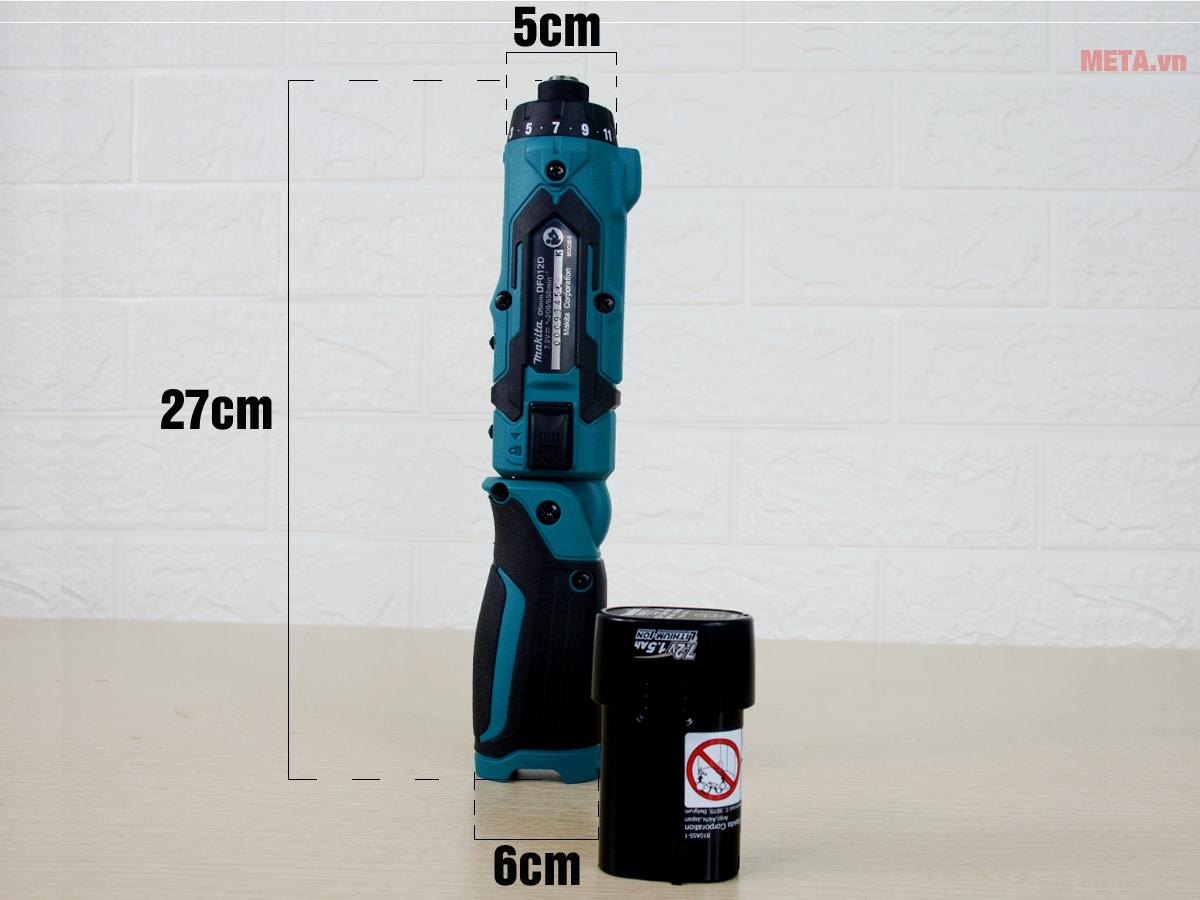 Kích thước máy vặn vít dùng pin Makita DF012DSE