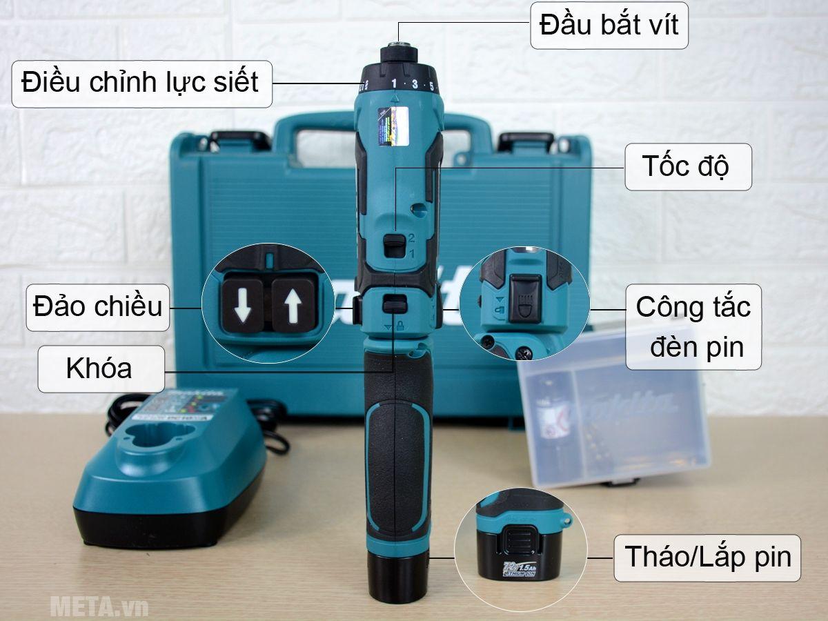 Cấu tạo máy vặn vít dùng pin Makita DF012DSE