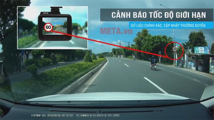 Camera Vietmap C61 cảnh báo giới hạn tốc độ bằng giọng nói