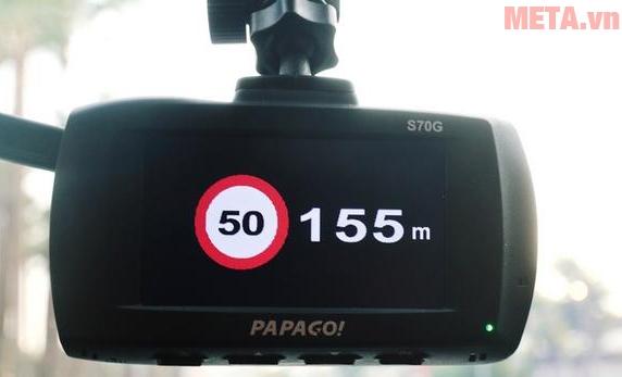Cảnh báo giao thông trên Papago G70S