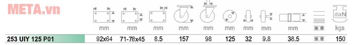 Các kích thước của bánh xe Ethos PU 253UIY125P01