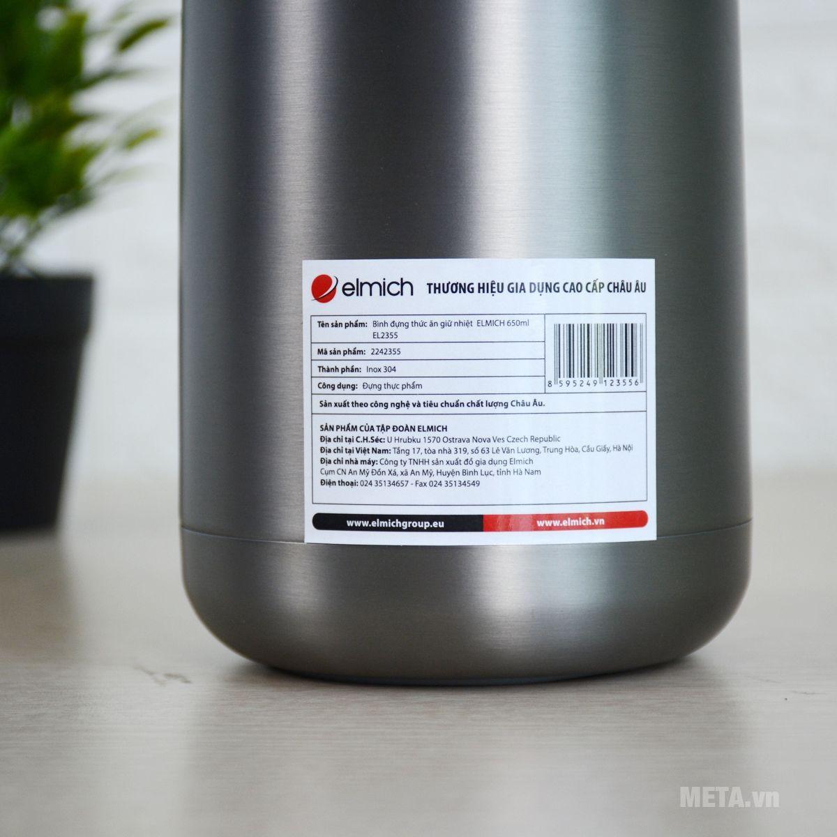 Một số thông số của bình đựng thức ăn giữ nhiệt Elmich 2242355