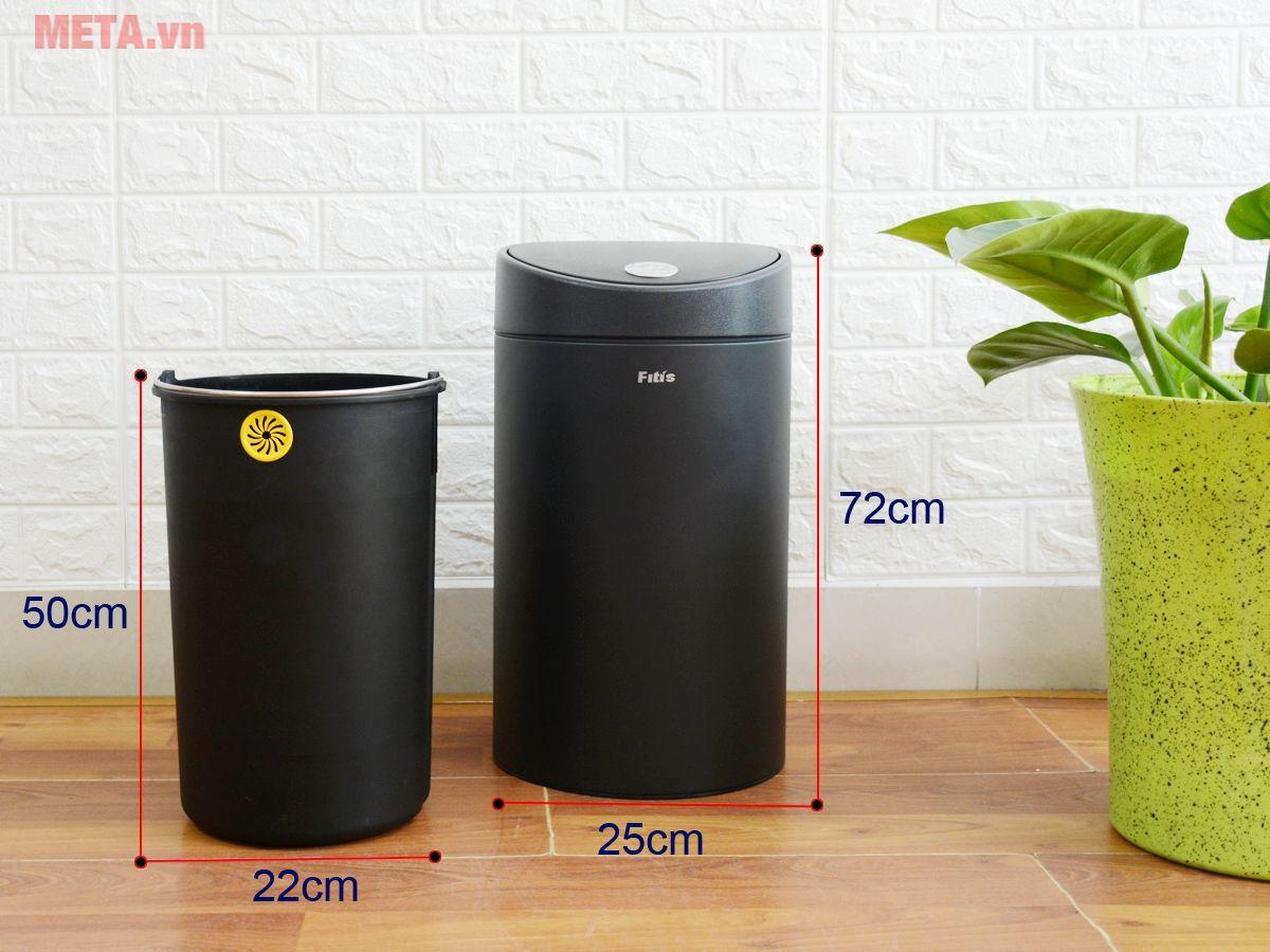 Thùng rác Inox nhấn tròn nhỏ Fitis RTS1-903 mẫu mã đẹp cho nội thất gian phòng