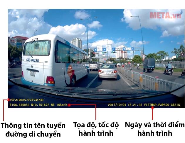 Camera hành trình VietMap Papago 51G thể hiện thông tin về tuyến đường, tọa độ, tốc độ hành trình, ngày và thời điểm hành trình