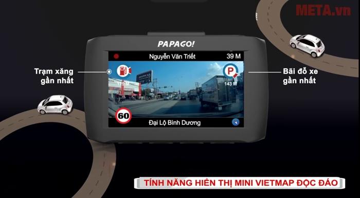 Chức năng hiển thị các địa điểm như trạm xăng, bãi đỗ xe gần nhất Vietmap Papago 51G