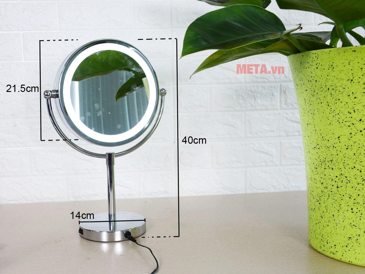 Gương trang điểm 2 mặt kèm đèn led