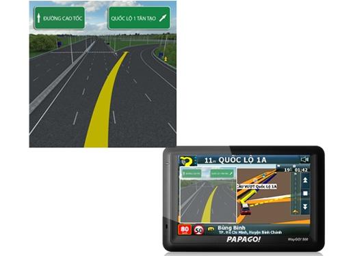 Thiết bị dẫn đường hiển thị rõ ràng và chi tiết trên màn hình LCD màu 5 inch