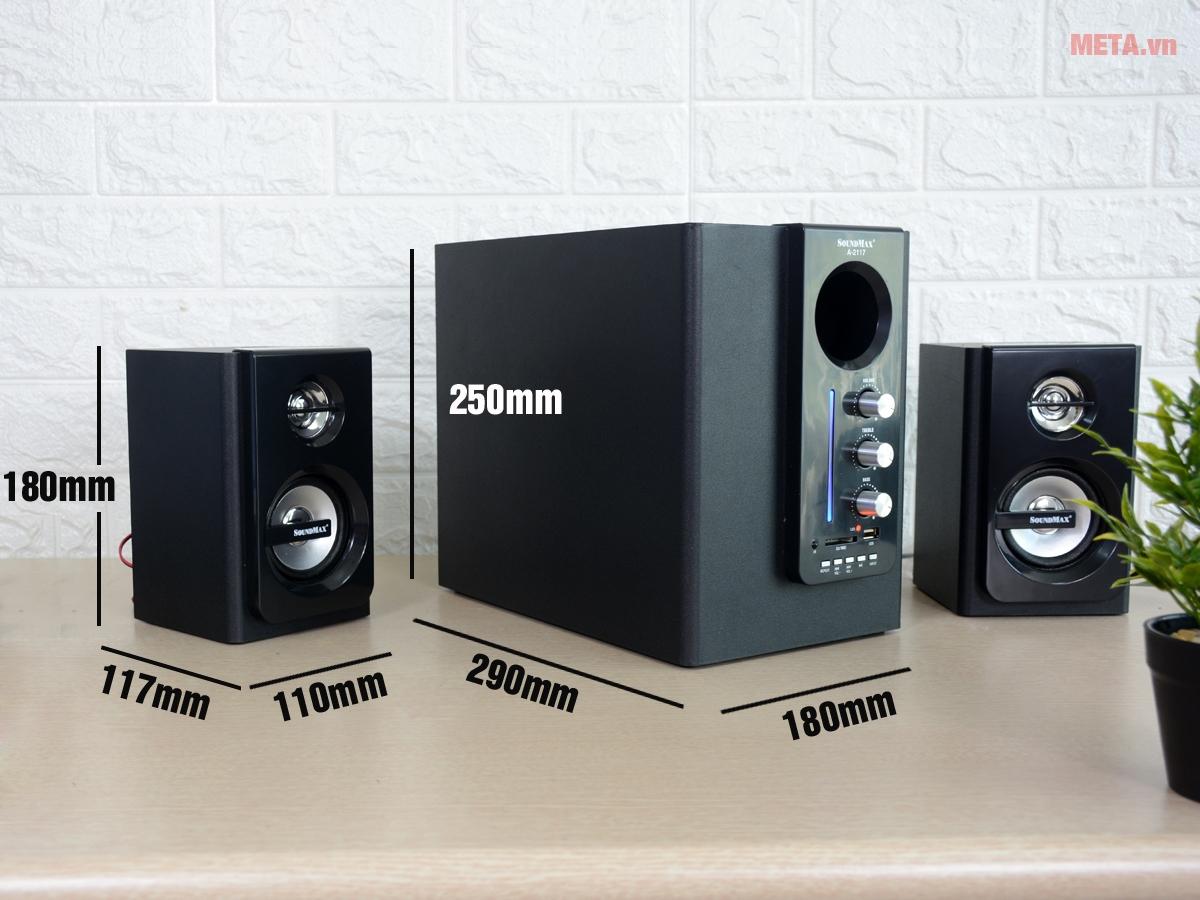 Kích thước loa vi tính SoundMax A2117 2.1