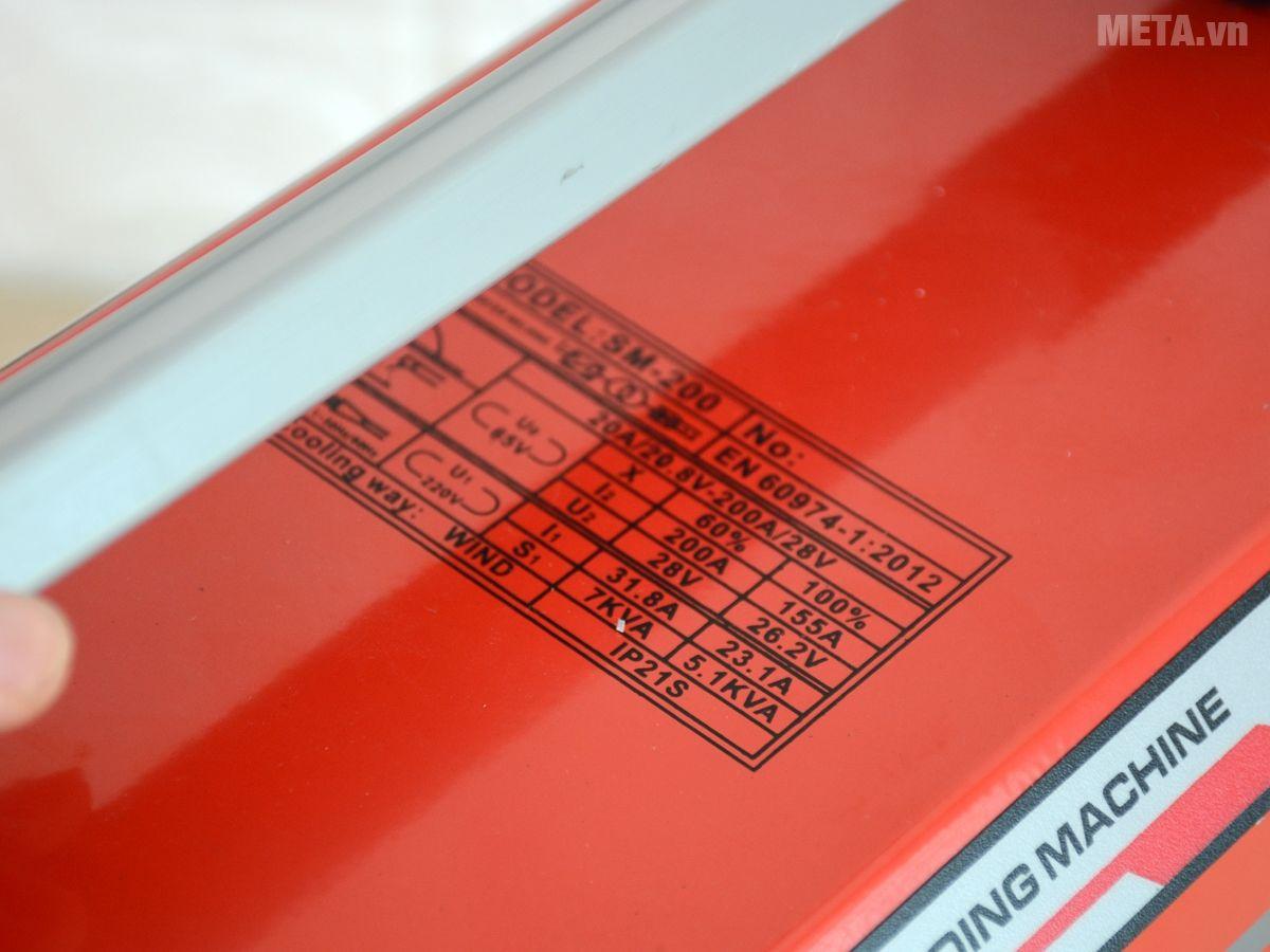 Một số thông số kỹ thuật của máy hàn Oshima Mosfet SM-200
