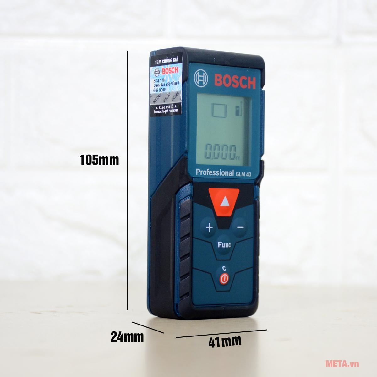 Máy đo khoảng cách laser Bosch GLM 40 thiết kế nhỏ gọn