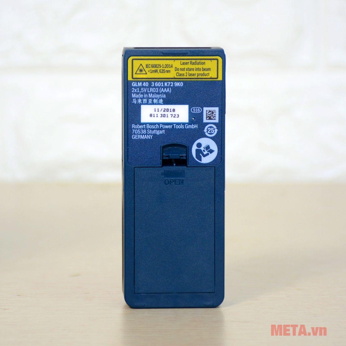 Máy đo khoảng cách laser Bosch GLM 40 sản xuất tại Malaysia