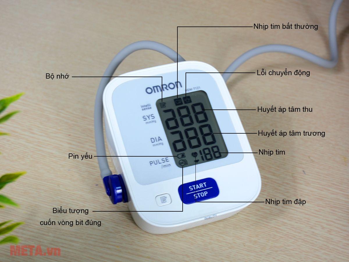 Các biểu tượng trên màn hình của máy đo huyết áp bắp tay tự động Omron HEM-7121