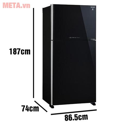 Tủ lạnh 2 cánh Sharp Inverter SJ-XP650PG-BK