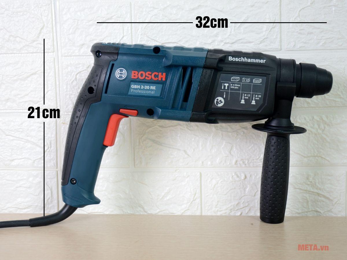 Máy khoan búa Bosch GBH 2-20RE có tay cầm phụ và thước đo độ sâu.