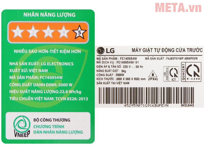 Máy giặt LG 9kg