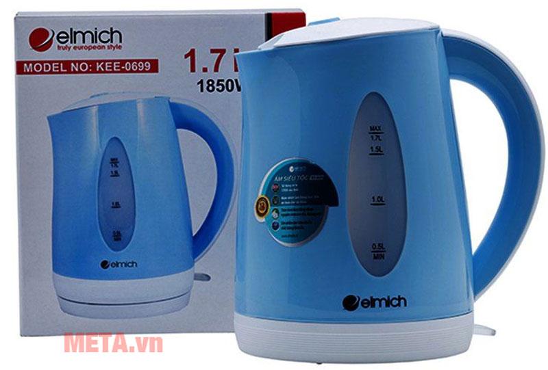 Ấm đun nước siêu tốc Elmich 1,7 lít KEE-0699 thiết kế tay cầm chắc chắn và cách nhiệt, dễ dàng di chuyển