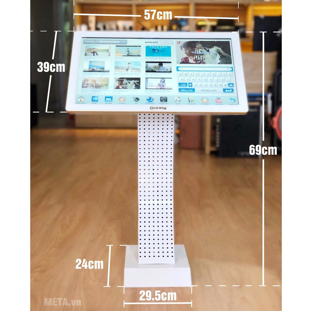 Kích thước đầu karaoke tích hợp màn hình cảm ứng Arirang K1