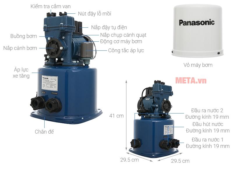 Máy bơm nước tăng áp tự động Panasonic A-130JTX 125W có nắp đậy bảo vệ