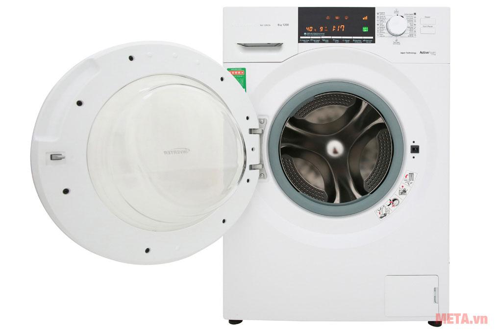 Máy giặt Panasonic inverter NA-128VG6WV2 thiết kế cửa trước giúp giặt sạch hơn