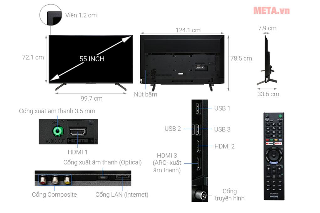 Cấu tạo và kích thước Tivi Sony Smart 4K KD-55X7000G