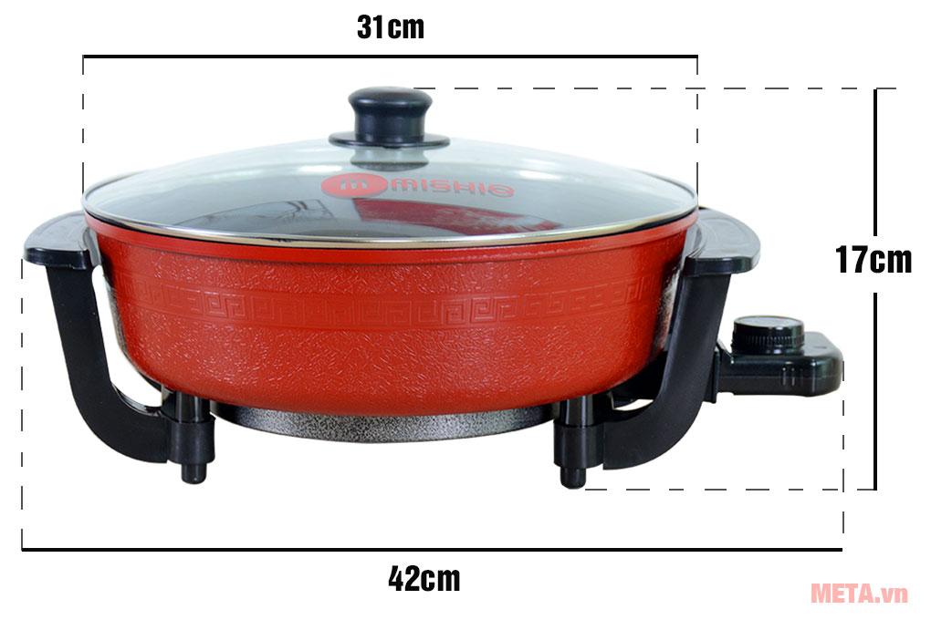 Kích thước nồi lẩu điện Mishio MK112