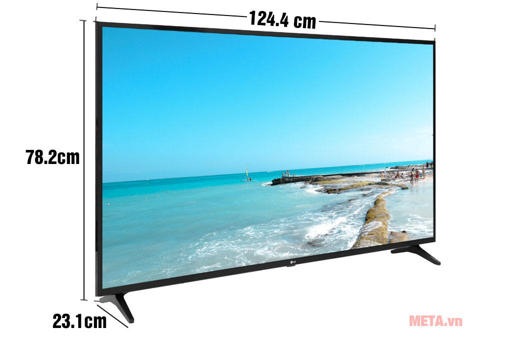 Kích thước TV LG Smart 4K 55UM7290PTD khi có chân đế