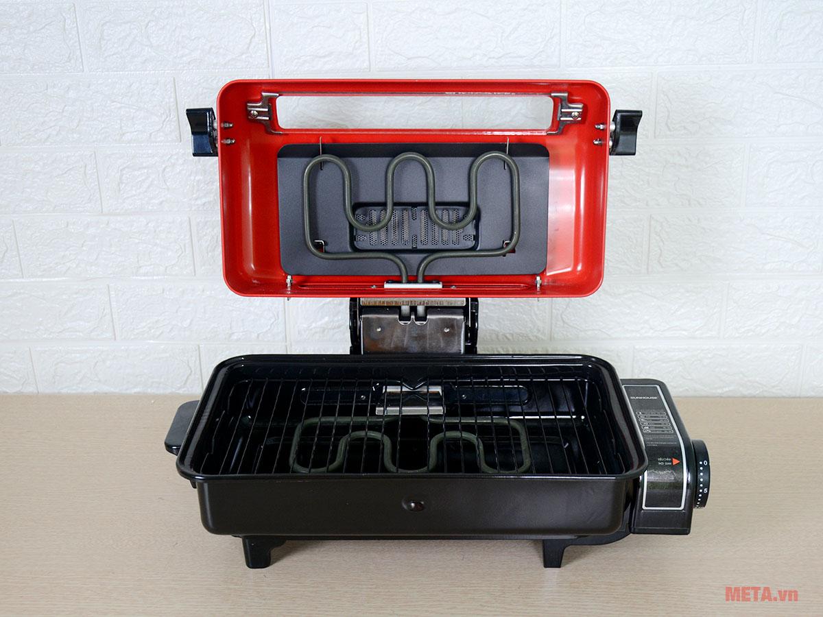 Lò nướng điện sử dụng thanh nhiệt kép giúp tăng hiệu suất nướng.