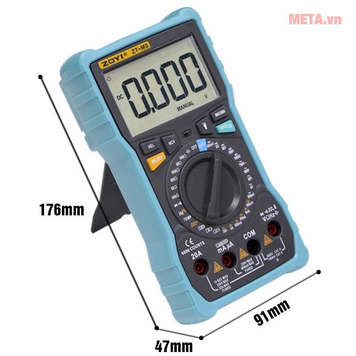 Kích thước đồng hồ vạn năng số Zoyi ZT-M0