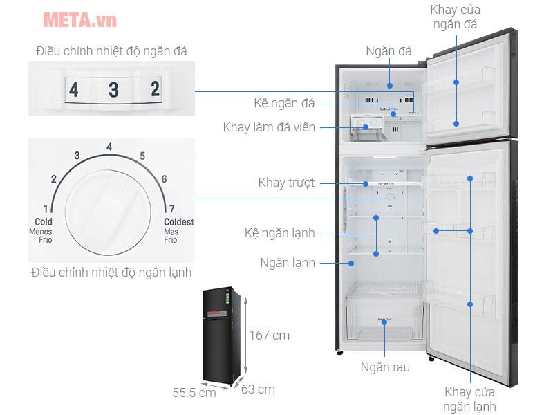 Cấu tạo chi tiết của các bộ phận trong tủ lạnh LG