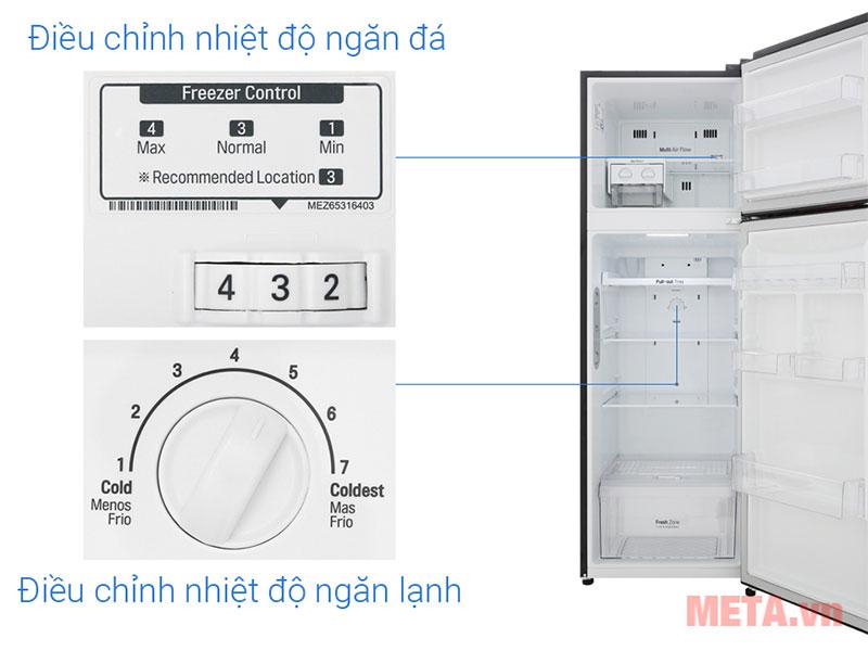 Công tắc điều chỉnh nhiệt độ chuyên biệt cho ngăn lạnh ở phía trên