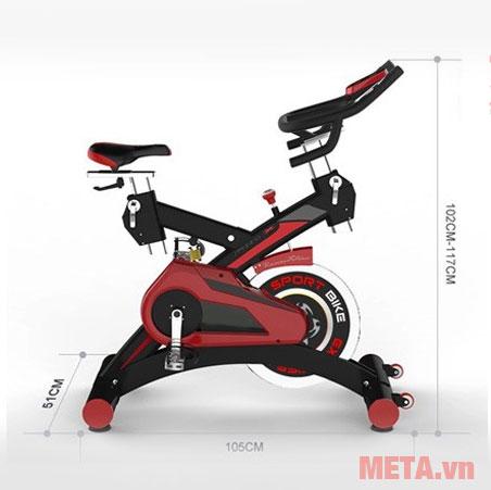 Kích thước lắp đặt xe đạp phòng tập SP 3000 Pro