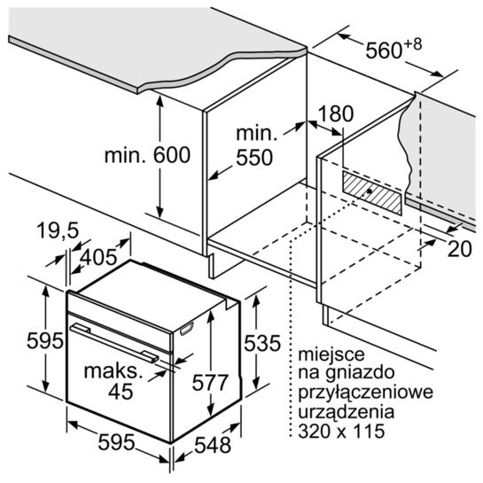 Kích thước lắp đặt của lò nướng điện âm tủ