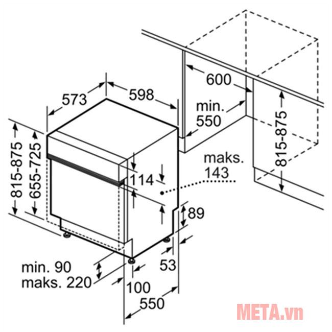 Kích thước lắp đặt tủ rửa bát đũa âm tường