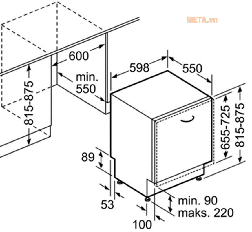 KÍch thước lắp đặt cho máy rửa bát âm tủ