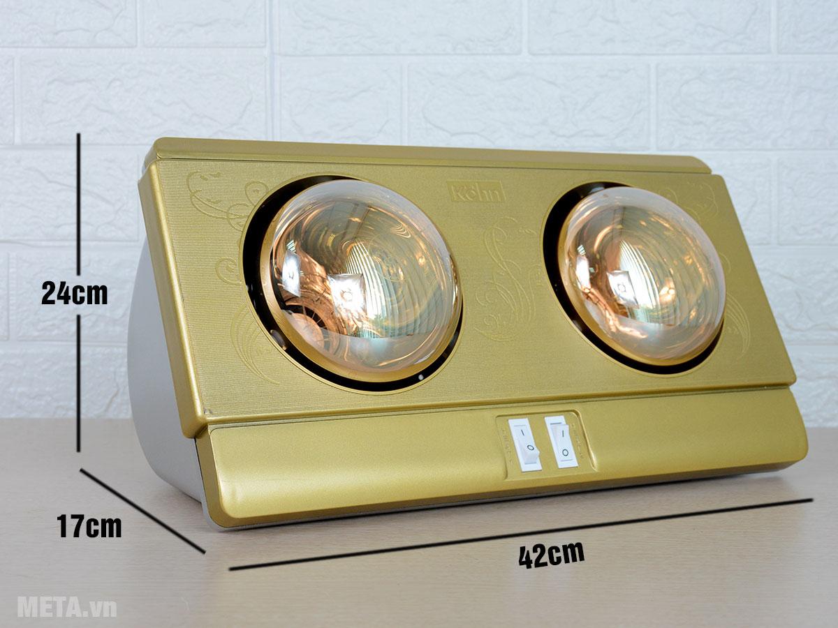Kích thước đèn sưởi nhà tắm Braun Kohn KP02G