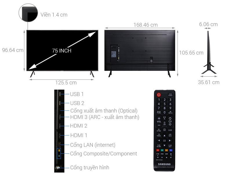 Cấu tạo chi tiết của tivi Samsung 75 inch