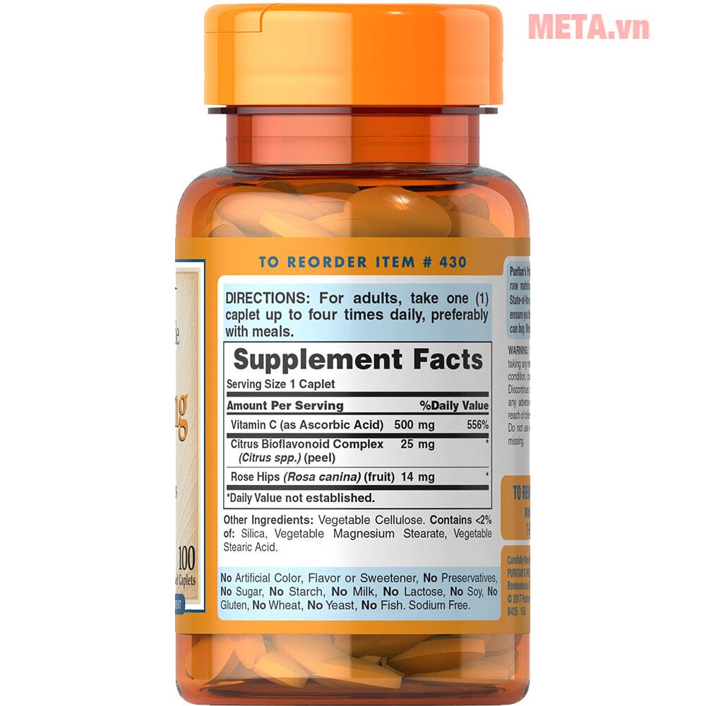Vitamin C 500 mg with Bioflavonoids & Rose Hips