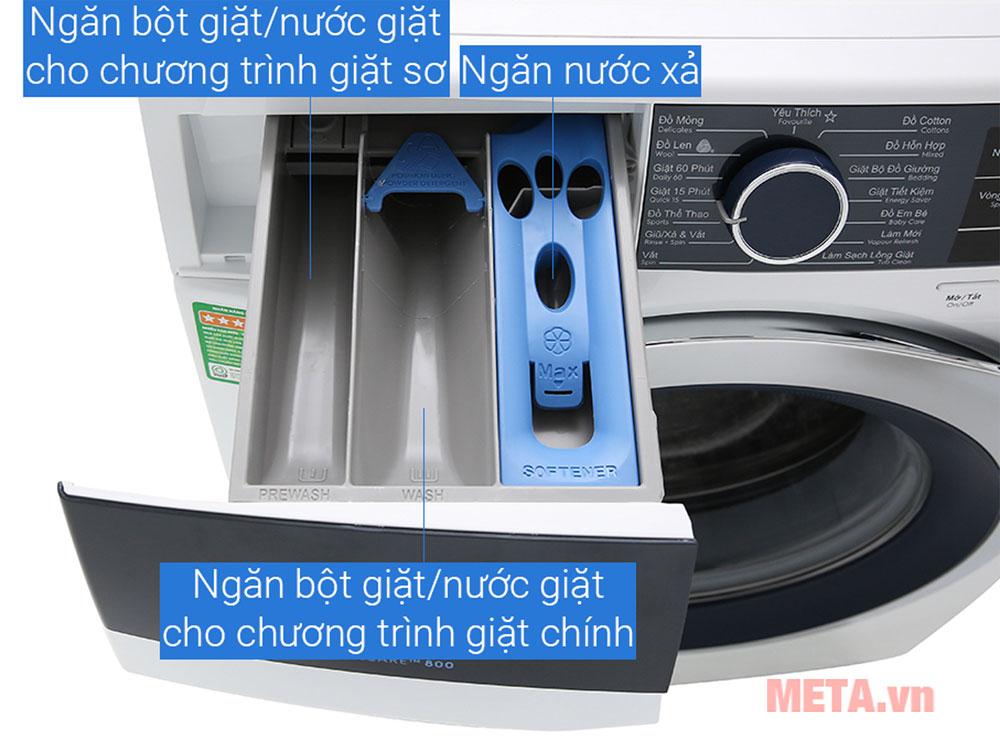 Thiết kế ngăn chứa bột giặt riêng giúp sử dụng dễ dàng hơn