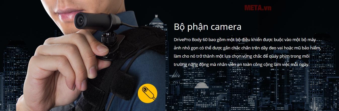 Camera Transcend DrivePro Body được lắp đặt chắc chắn, không lo rơi rớt, thuận lợi cho việc di chuyển liên tục