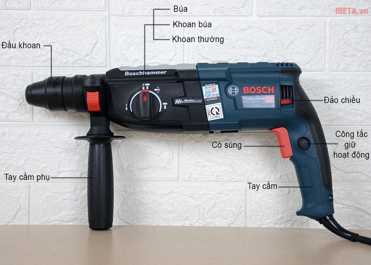 Cấu tạo máy khoan búa Bosch GBH 2-28 DFV