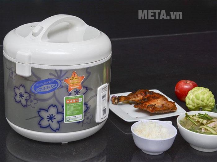 Nồi cơm điện Sharp nắp gài KS-N181ETV (1,8 lít) gồm 2 chế độ nấu đơn giản giúp thao tác dễ dàng.