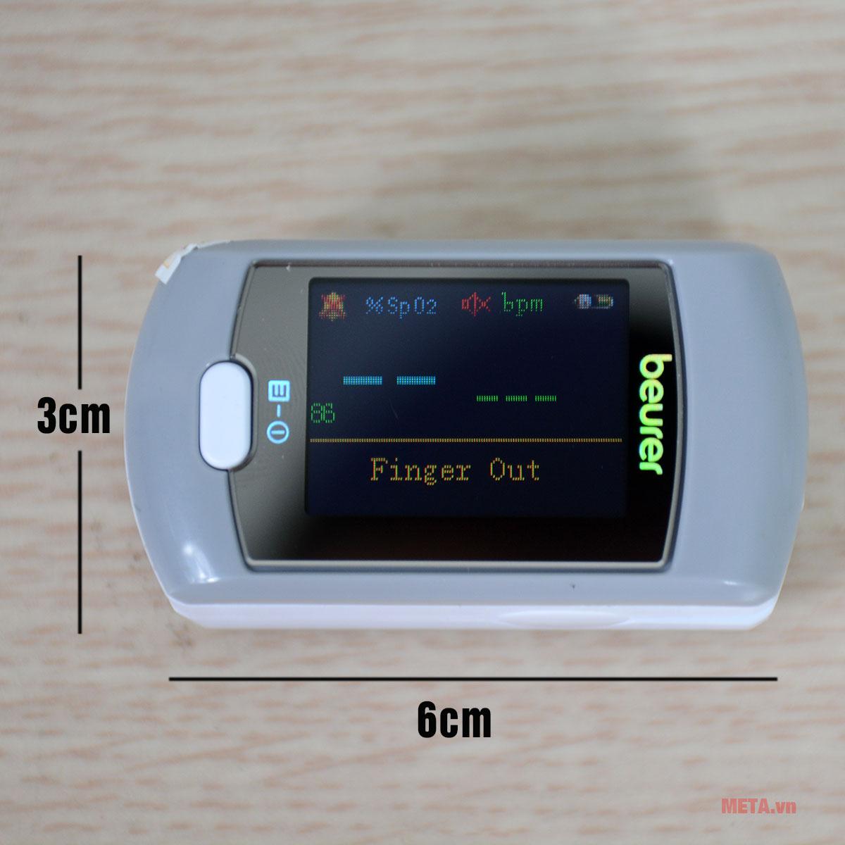Kích thước máy đo SpO2 và nhịp tim Beurer PO80