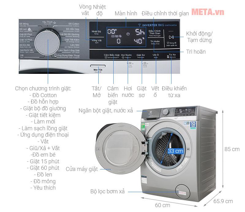 Chi tiết cấu tạo của máy giặt cửa trước Electrolux