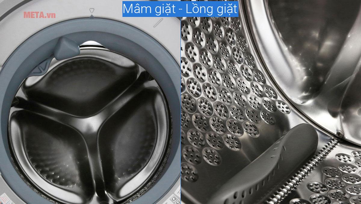 Chất liệu lồng giặt thép không gỉ thân thiện với mọi chất liệu quần áo