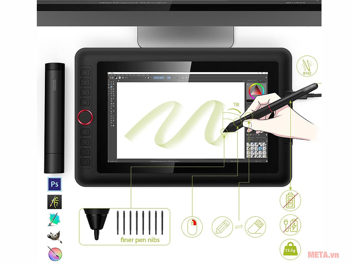 XP-Pen Artist 12 Pro với các công cụ vẽ