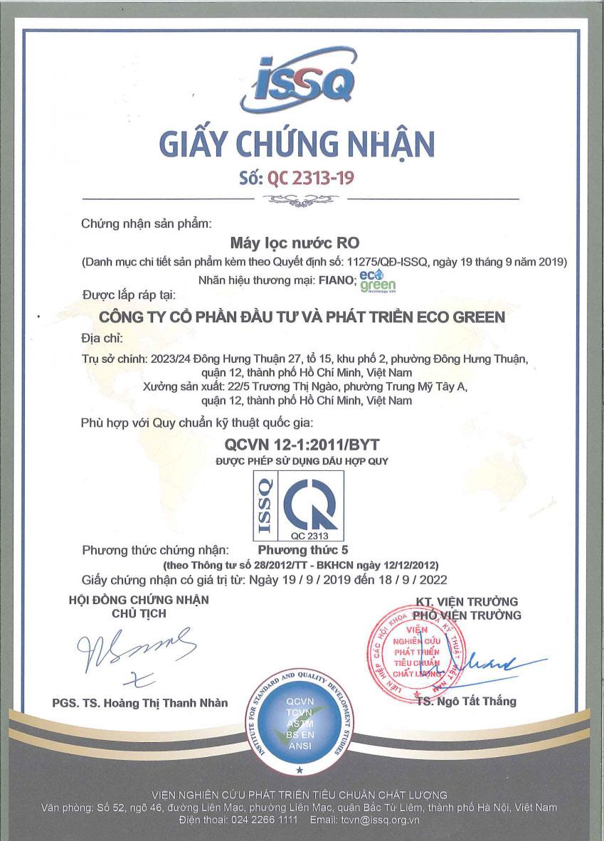 Giấy chứng nhận đạt tiêu chuẩn QCVN12-1: 2011/BYT