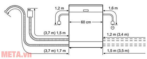Kích thước lắp đặt máy rửa bát Bosch SMS46NI03E